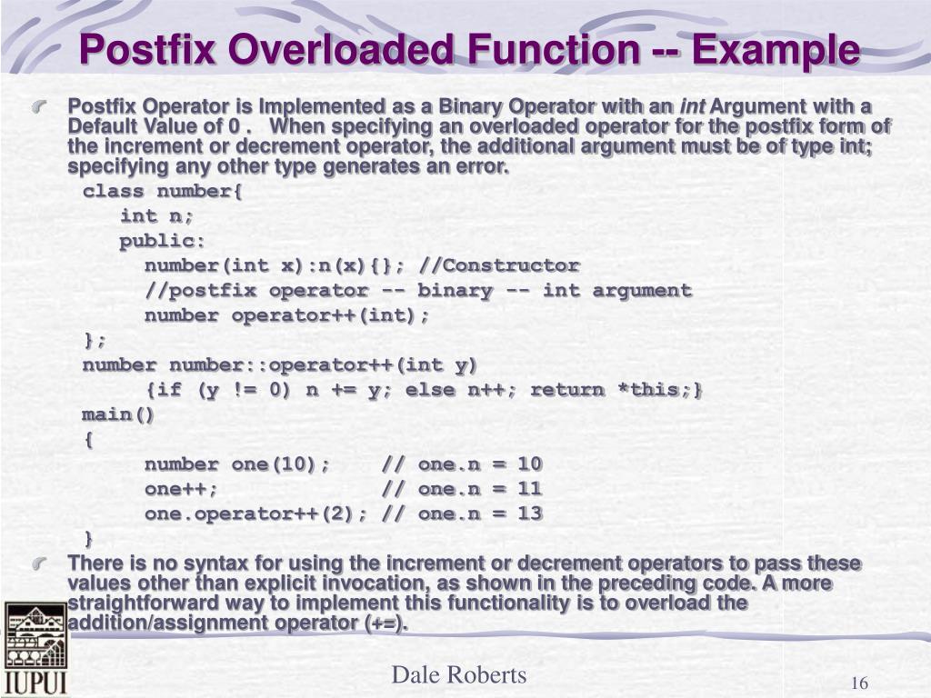 Postfix Overloaded Function -- Example
