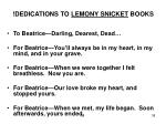 dedications to lemony snicket books