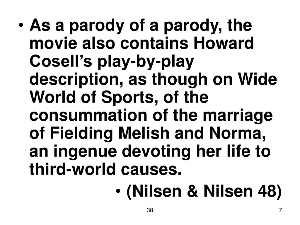 As a parody of a parody, the movie also contains Howard Cosell's play-by-play description, as though on Wide World of Sports, of the consummation of the marriage of Fielding Melish and Norma, an ingenue devoting her life to third-world causes.