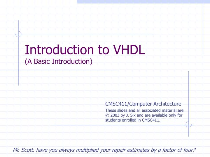 introduction to vhdl a basic introduction