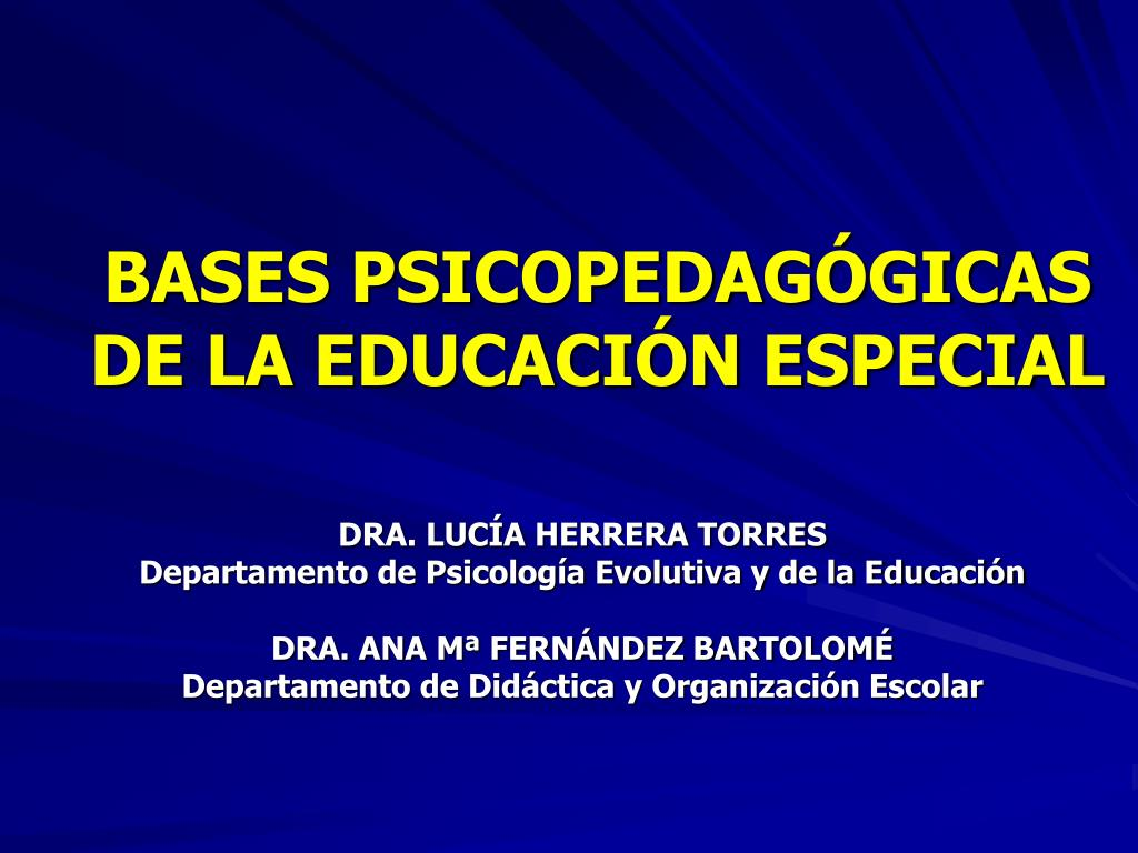 bases psicopedag gicas de la educaci n especial l.