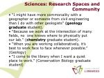 sciences research spaces and community