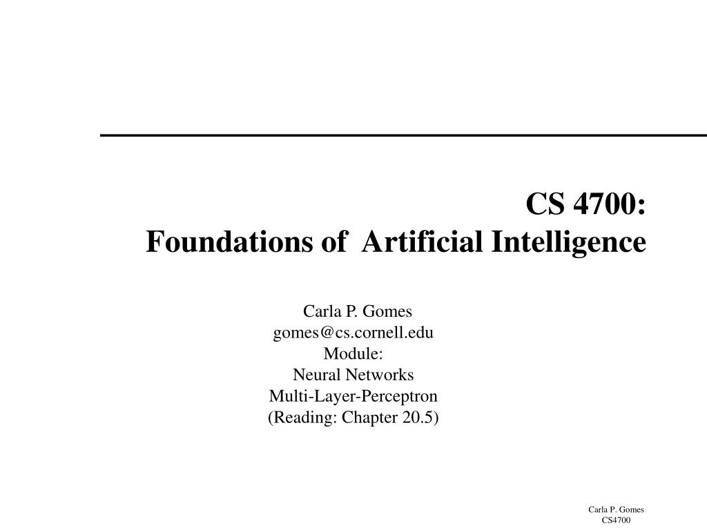 PPT - CS 4700: Foundations of Artificial Intelligence