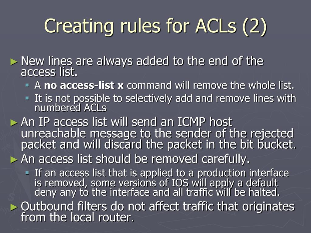 Creating rules for ACLs (2)