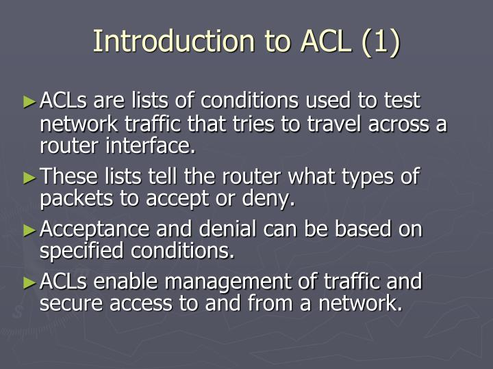 Introduction to acl 1