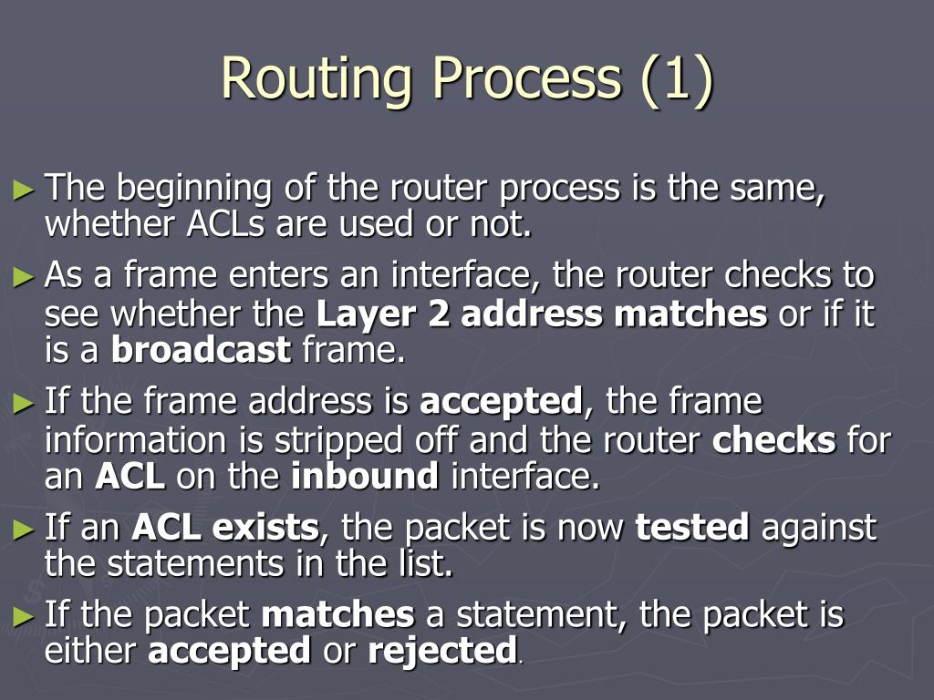 Routing Process (1)