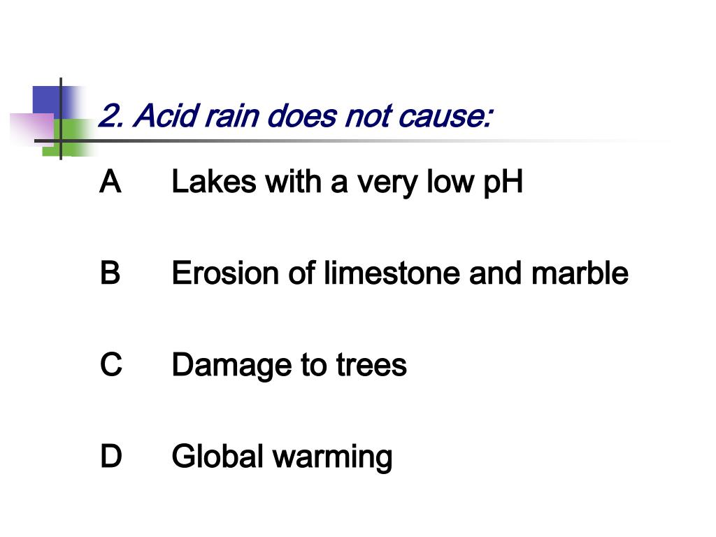 2. Acid rain does not cause: