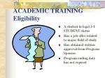 academic training eligibility