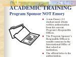 academic training program sponsor not emory