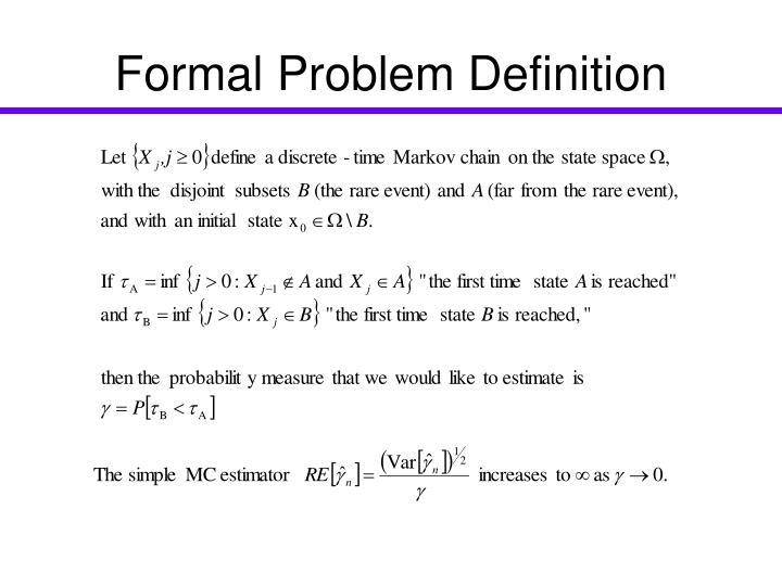 Formal problem definition