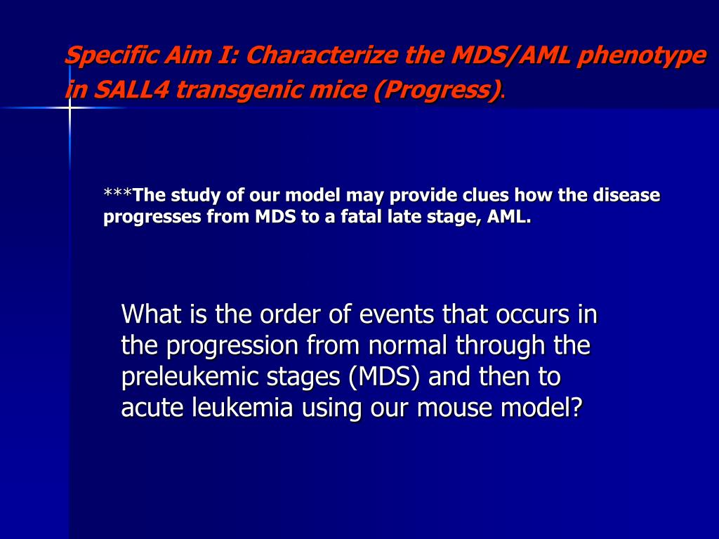 What is the order of events that occurs in the progression from normal through the preleukemic stages (MDS) and then to acute leukemia using our mouse model?