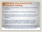 nursing care beyond the hospital setting