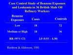 case control study of benzene exposure and leukemia in 36 british male oil refinery workers