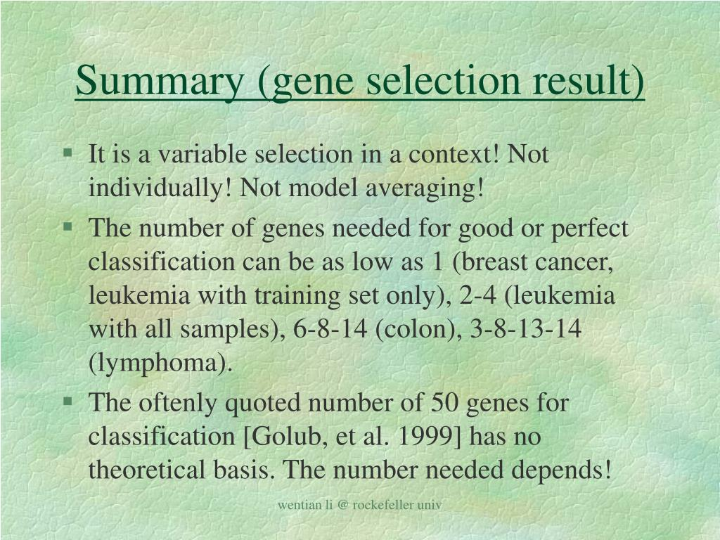 Summary (gene selection result)