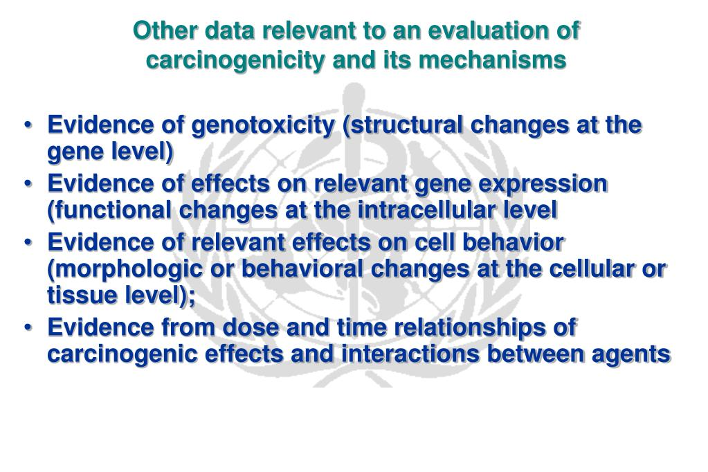 Other data relevant to an evaluation of carcinogenicity and its mechanisms
