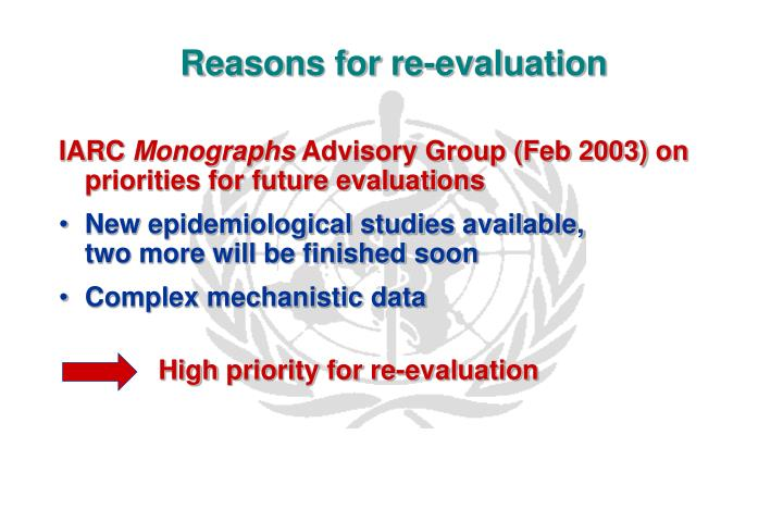 Reasons for re evaluation
