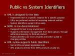 public vs system identifiers
