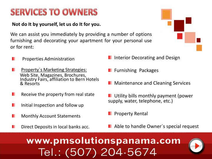 SERVICES TO OWNERS