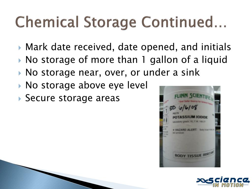 Chemical Storage Continued…