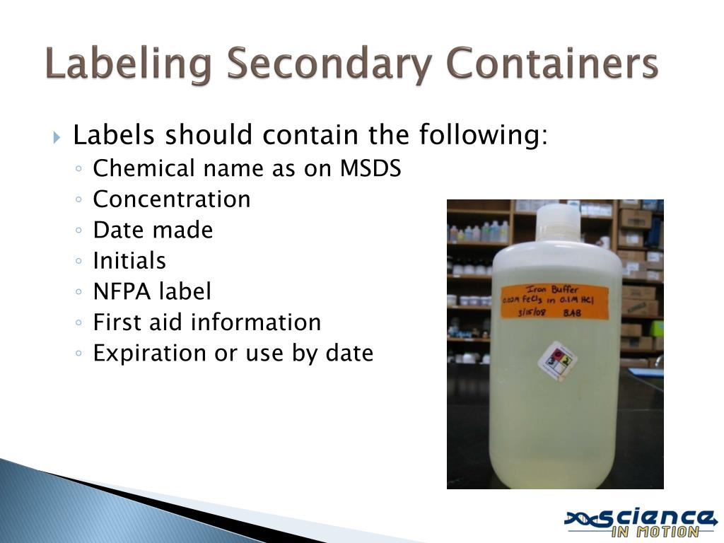 Labeling Secondary Containers