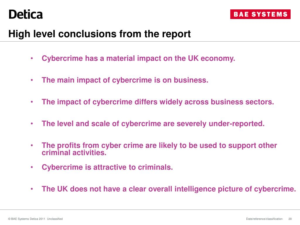 High level conclusions from the report