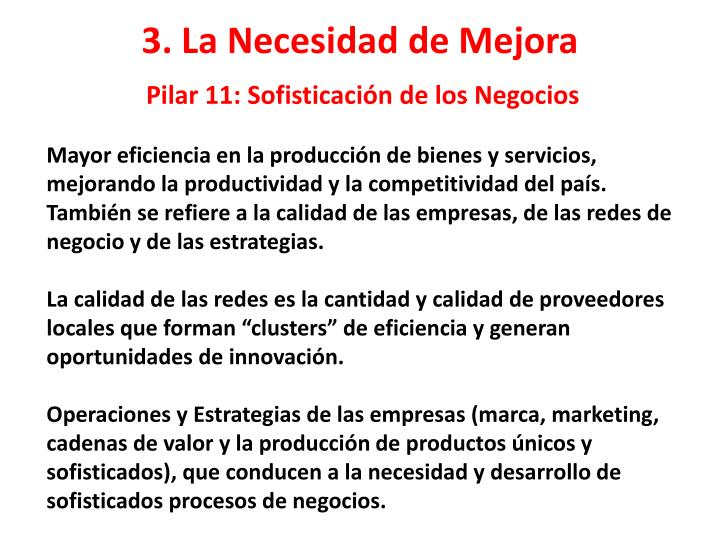 Pilar 11: Sofisticación de los Negocios