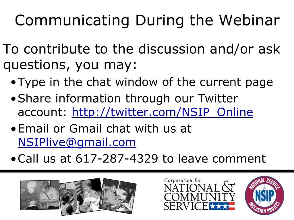 Communicating During the Webinar