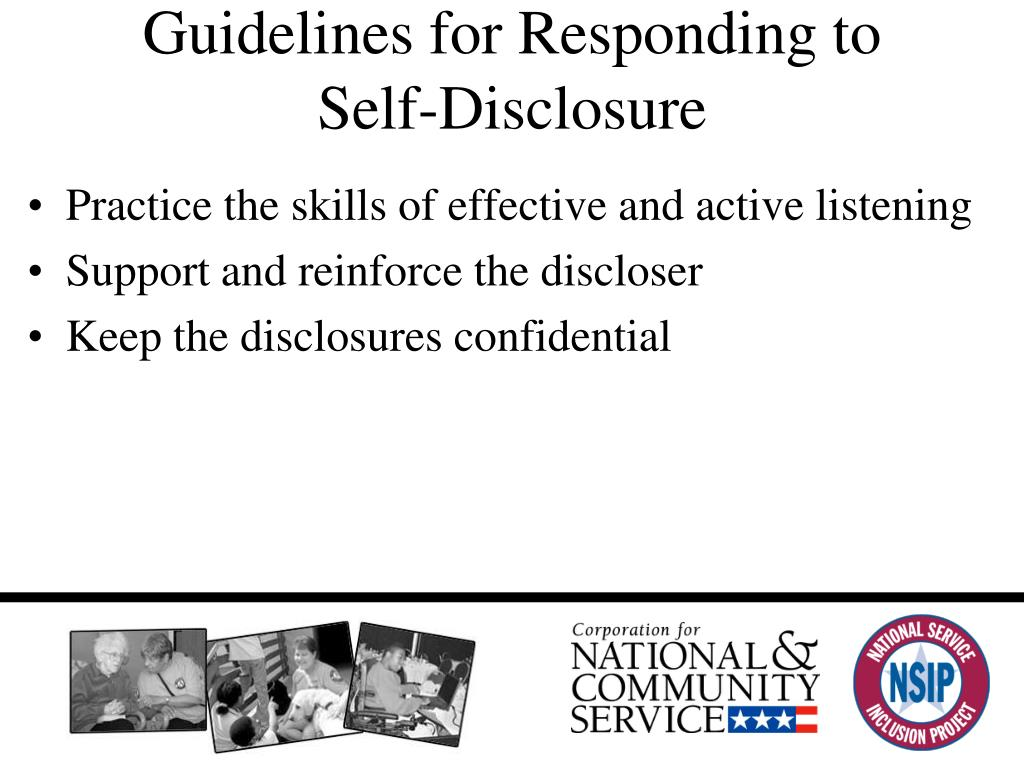 Guidelines for Responding to Self-Disclosure