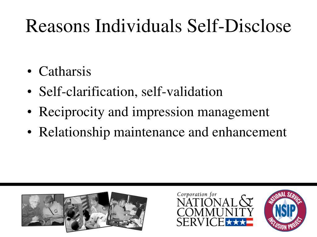 Reasons Individuals Self-Disclose