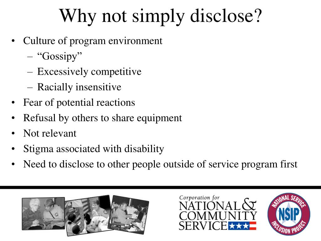 Why not simply disclose?