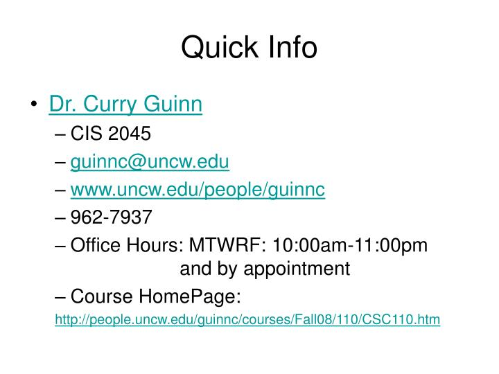 Quick info