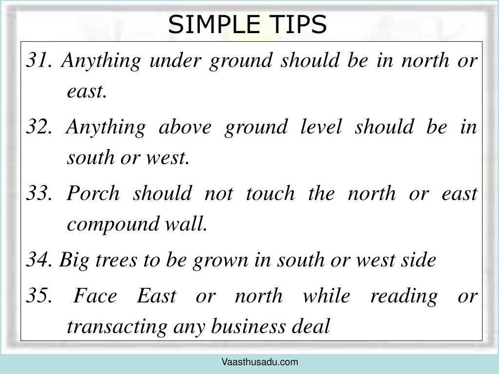 31. Anything under ground should be in north or east.