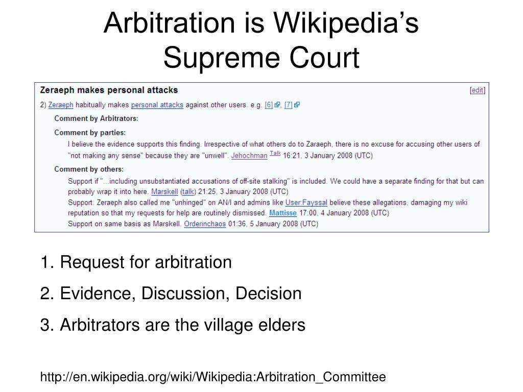 Arbitration is Wikipedia's