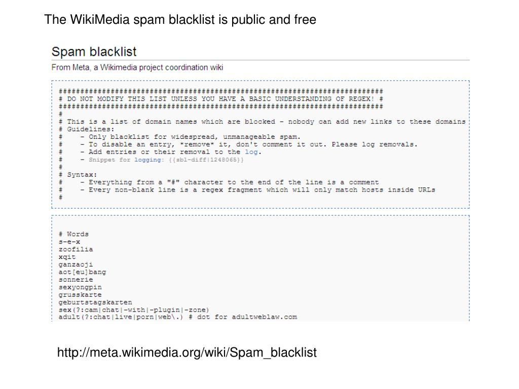 The WikiMedia spam blacklist is public and free