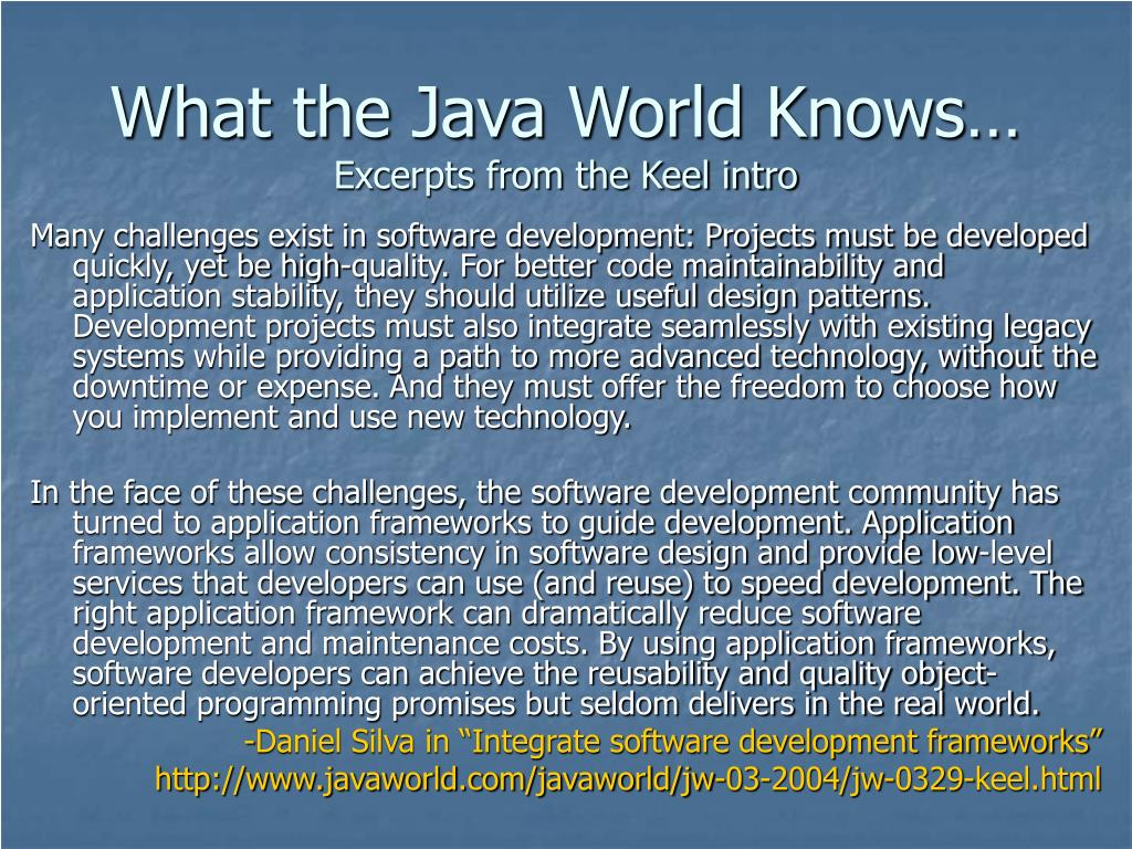 What the Java World Knows…