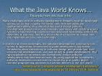 what the java world knows excerpts from the keel intro