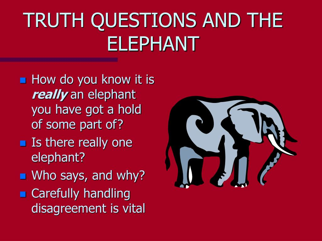 TRUTH QUESTIONS AND THE ELEPHANT