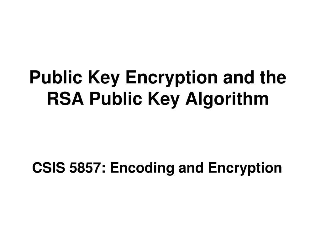 public key encryption and the rsa public key algorithm l.