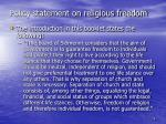 policy statement on religious freedom