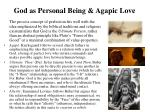 god as personal being agapic love