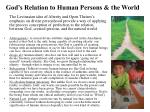 god s relation to human persons the world