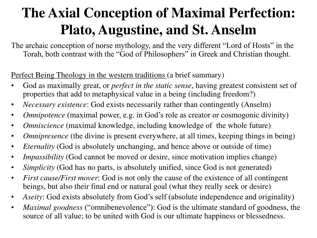 The Axial Conception of Maximal Perfection: Plato, Augustine, and St. Anselm