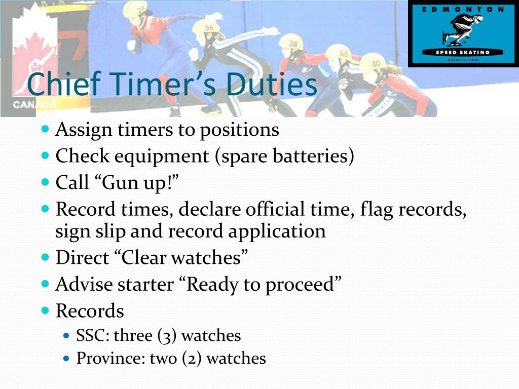 Chief Timer's Duties