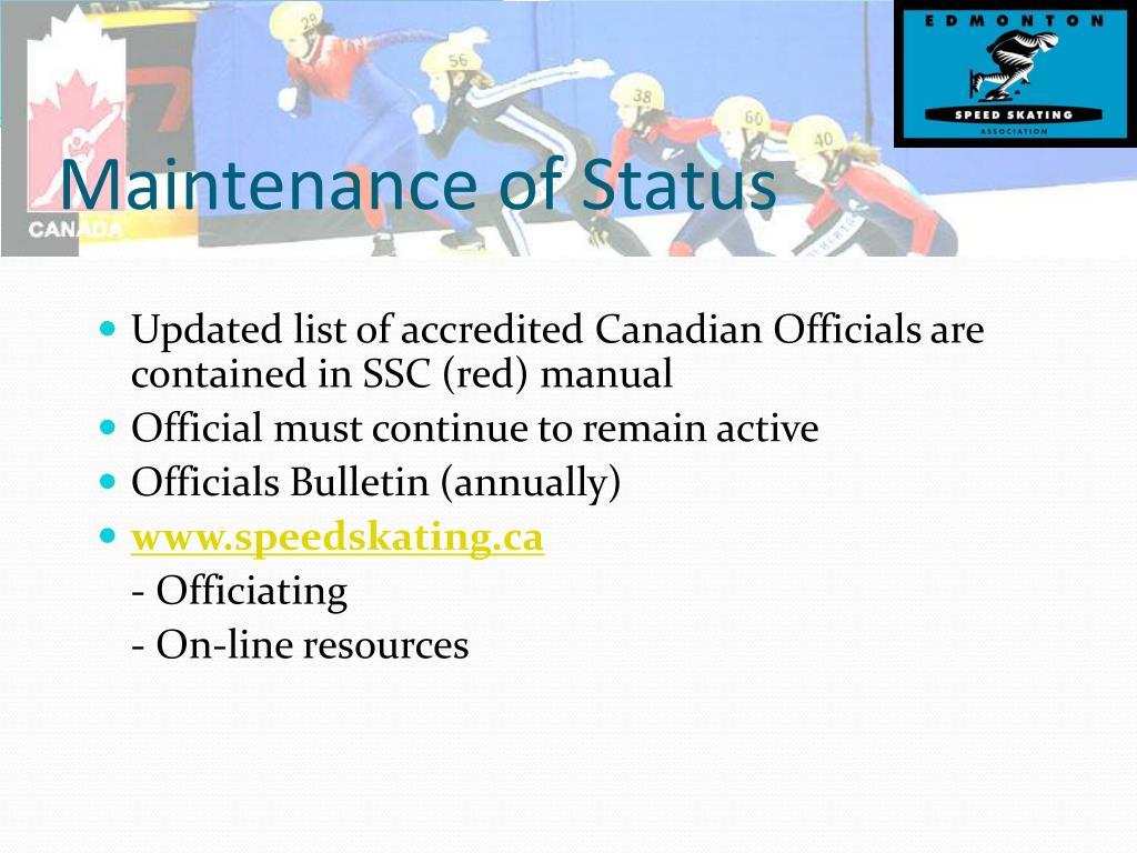 Maintenance of Status