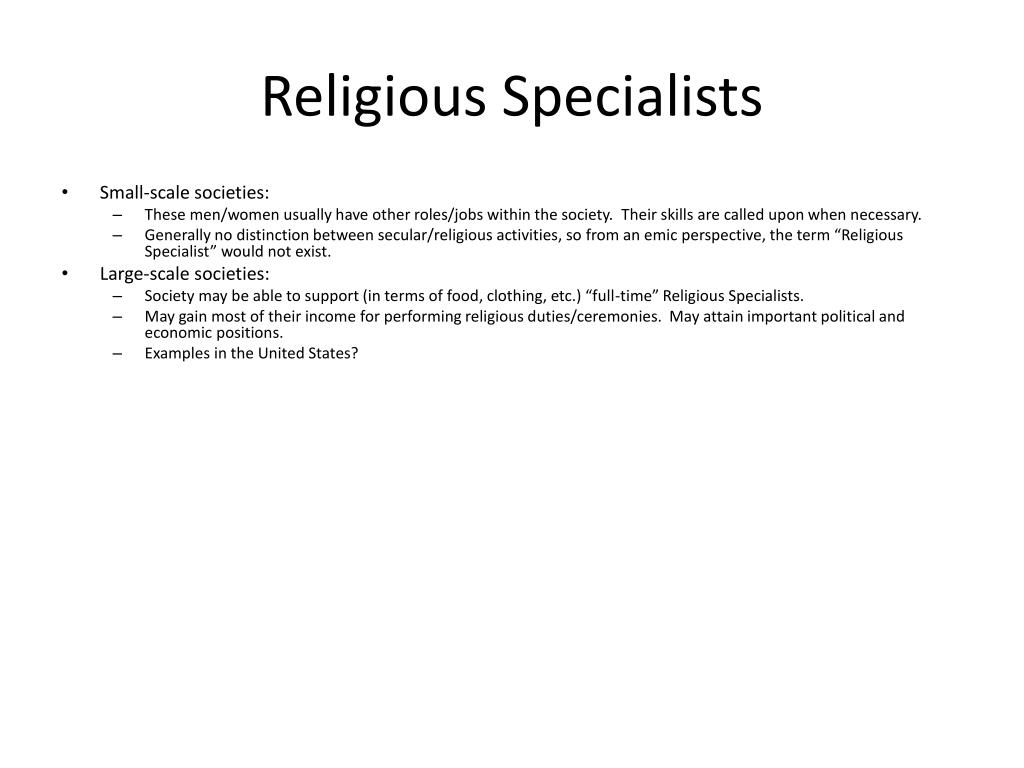 religious specialists l.