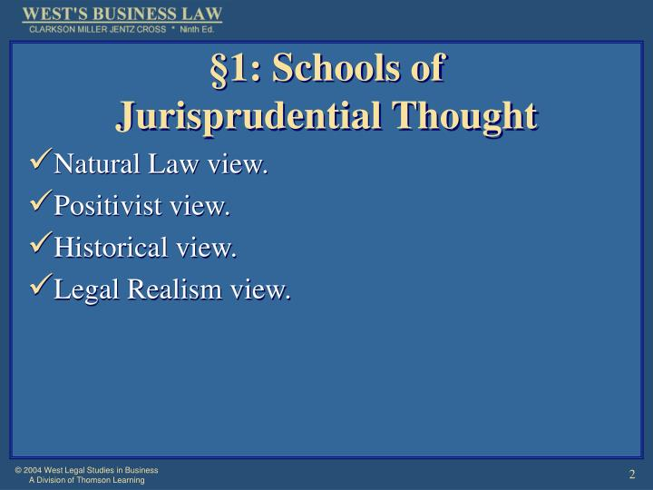 1 schools of jurisprudential thought