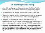 10 year forgiveness recap