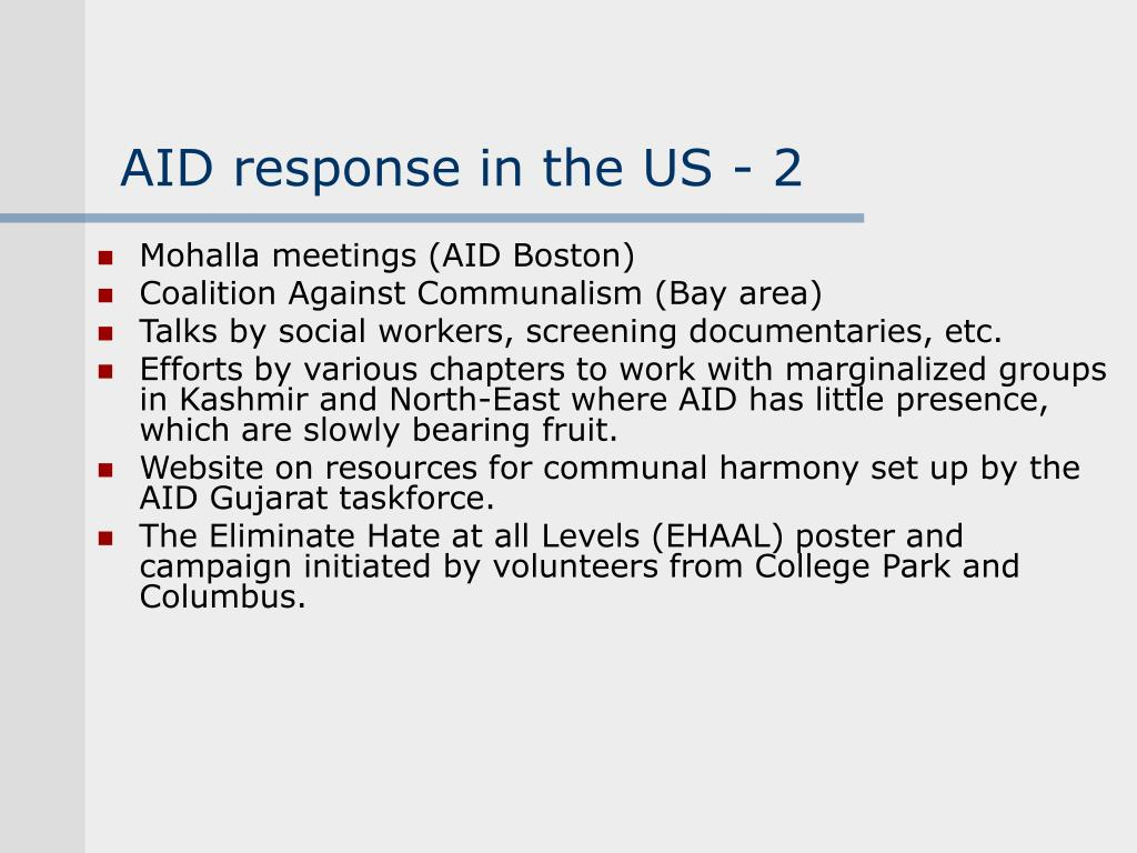 AID response in the US - 2