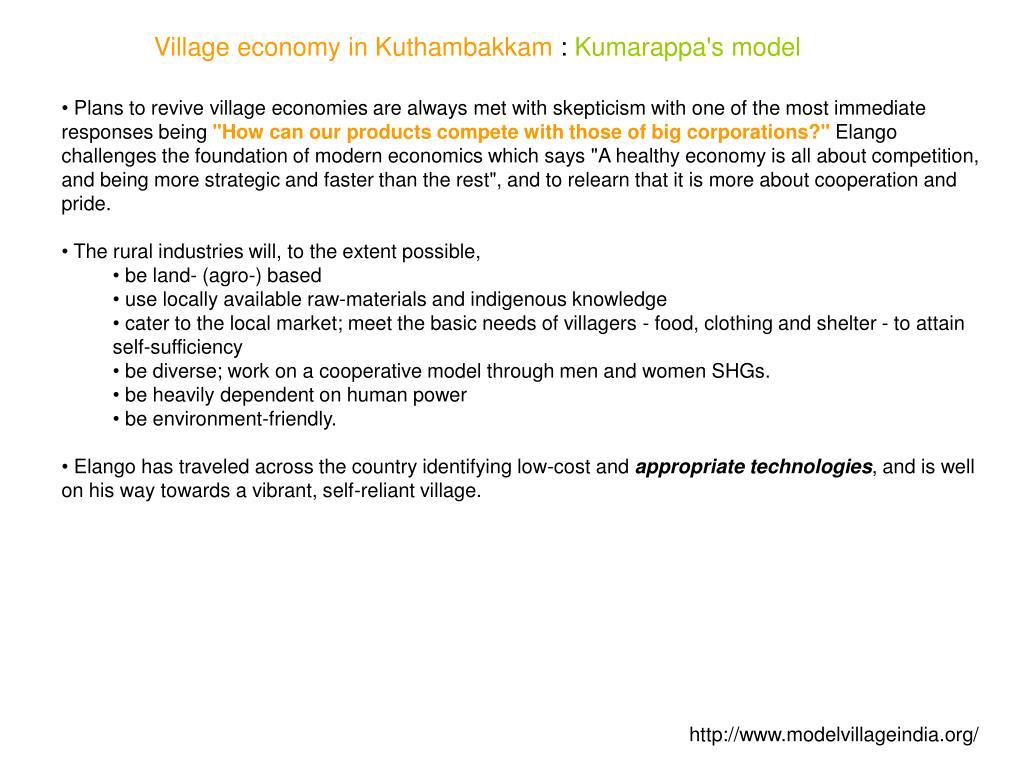 Village economy in Kuthambakkam