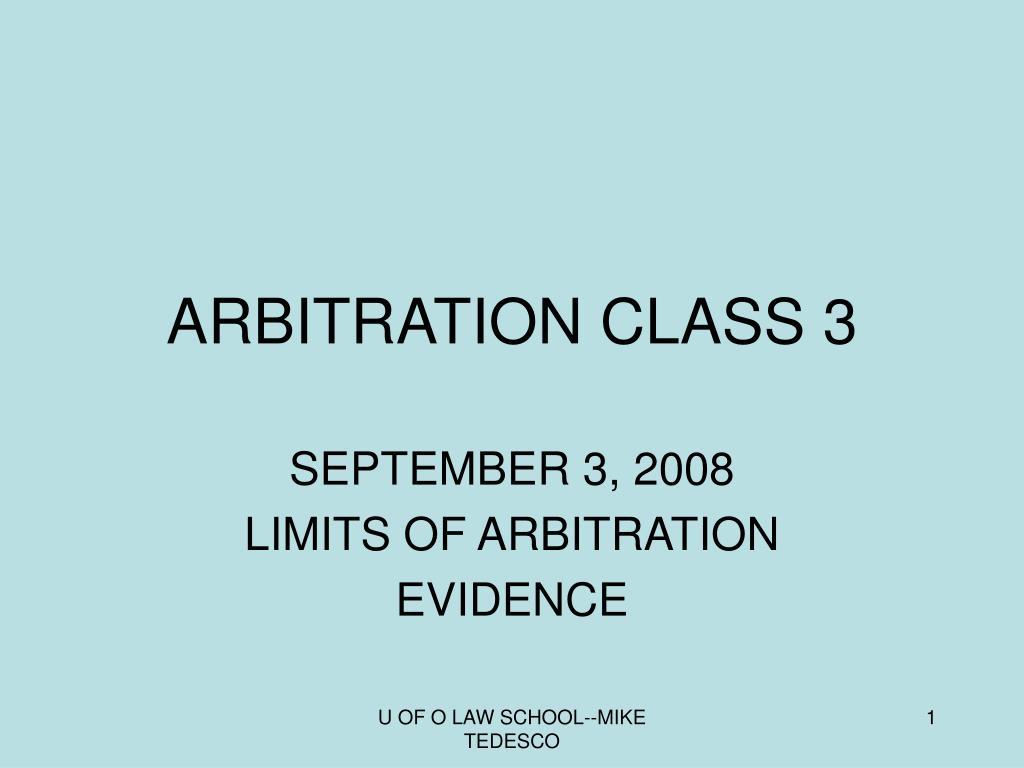 arbitration class 3 l.